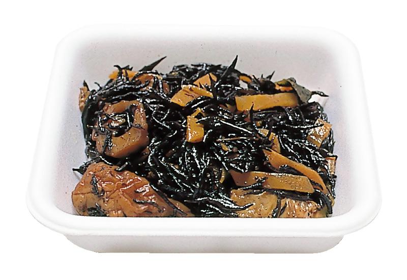 ひじき煮 栄養豊富なひじきと野菜類、ちくわ、うすあげと一緒においしく煮込んであります。